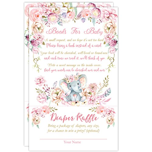 Elephant Book Request Diaper Raffle Card, Elephant Book Request Card, Elephant Diaper Raffle Card, 50 Count by Your Main Event Prints