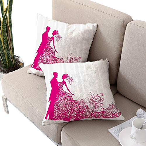 (Wedding Decorations Square floral pillow covers ,Dancing Couple Vibrant Color Silhoette Ceremony Floral Wedding Dress Magenta White W24