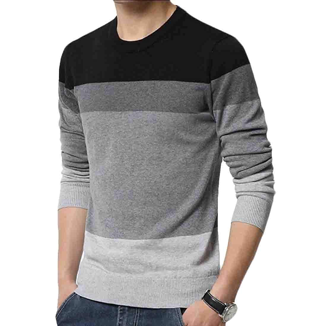 XQS Mens Winter Casual Printed Sweater Warm Knit Tops Slim Fit Blouse