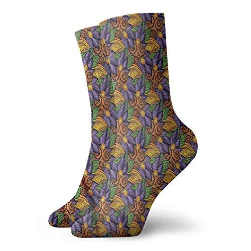 Men's Socks Happy Funny Leaf,Hand Drawn Floral Colorful 3.4