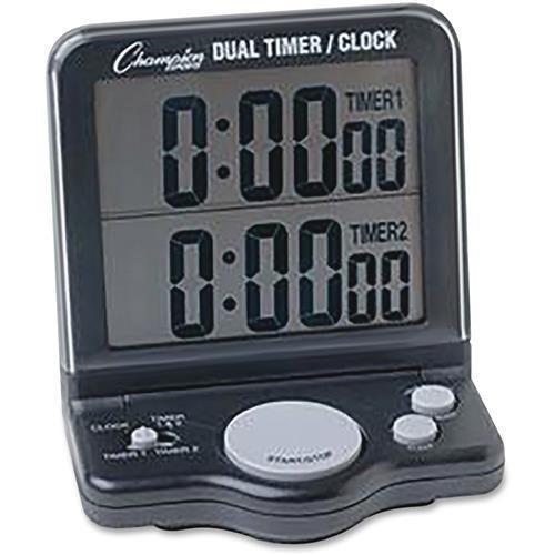 DC100 Champion Sport Dual Timer Stop Watch - 1 Day - Desktop, Wall Mountable - For Sports - Black - Champion Sports Dual Timer