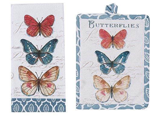 Kay Dee Butterfly Garden Terry Towel and Pot Holder 2 Piece Bundle Set