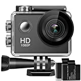 Action Camera, 1080P HD Waterproof Sports Cam 2 Inch LCD Screen , 140 Degree Wide Angle Lens , 98ft Underwater DV Camcorder With 2 Rechargeable Batteries and 9 Accessory Kit