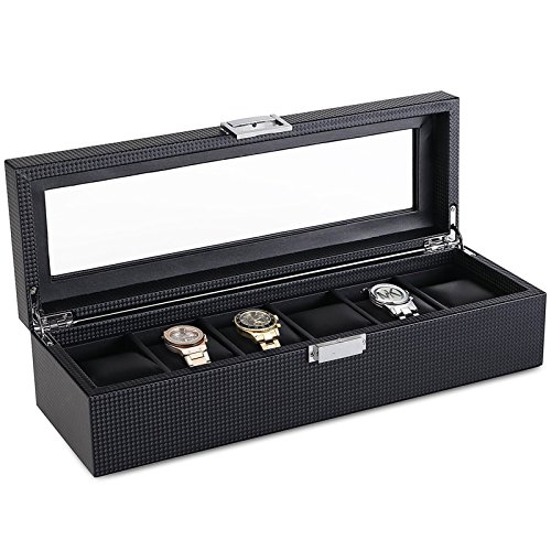 SWEETV 6 Slot Watch Box for Men - Carbon Fiber Watch Display Storage Case Organizer with Glass Top, - Wood Fiber Carbon