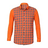 OWMEOT Men's Slim Fit Business Casual Cotton Long Sleeves Solid Button Down Dress Shirts (Orange, M)