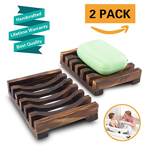 Home Bathroom Wooden Soap Case Holder Sink Deck Bathtub Shower Dish Rectangular Hand Craft Natural Wooden Holder for Sponges, Scrubber, Soap by Magift (2 Pcs)