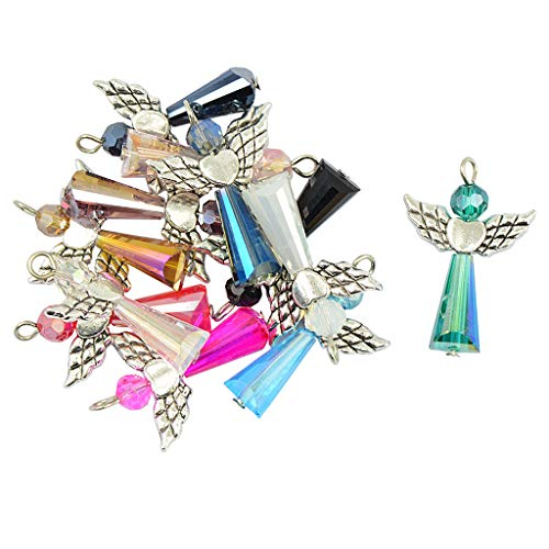 Prettyia 12 Pieces Multicolors Vintage Fairy Angel Charms Pendants Faceted Glass Beads Antiqued Silver Wings Dangle for DIY Wedding Gift Jewelry Hanging Craft