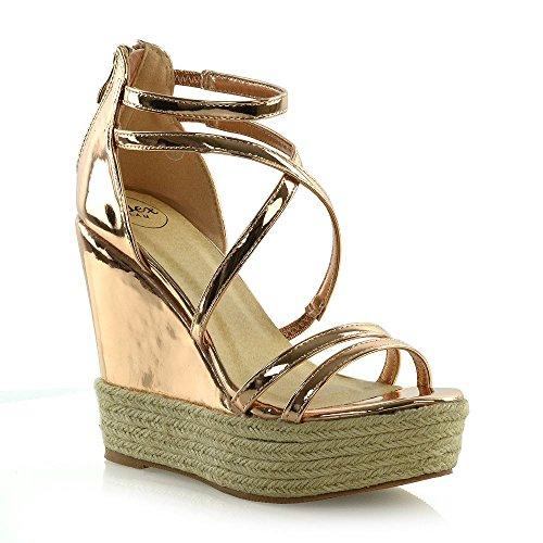 ESSEX GLAM Womens Espadrille Shoes Ladies Strappy Platform Wedge Heel Sandals (6 B(M) US, Bronze Metallic)
