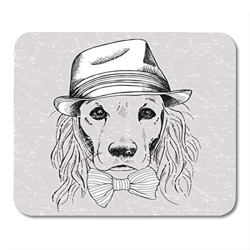 Semtomn Gaming Mouse Pad Man The Dog Cocker Spaniel Bow Hat Tie Animal Beautiful 9.5