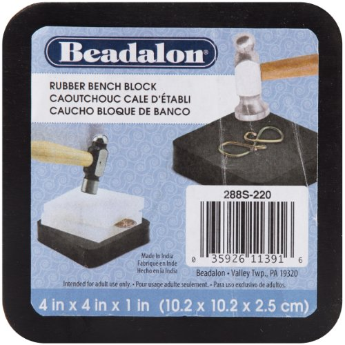 Beadalon Rubber Bench Block for Jewelry Making, 4 by 4-Inch, Black