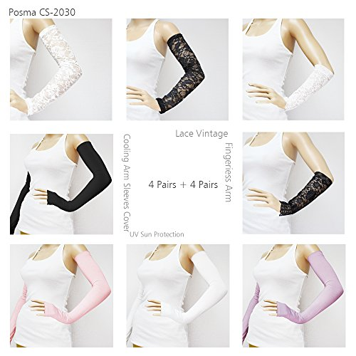 CS-2030 4 Pairs Lace Vintage Fingerless Arm + 4 Pairs Cooling Arm Sleeves Cover UV Sun Protection by POSMA (Image #7)