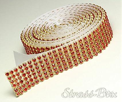 10 mm x ca.1150 mm 1,15m lang Strasssteine Rot//Gold 3 Reihig Siam//Gold Mesh Strassband SS8 Selbstklebend Breite w/ählbar