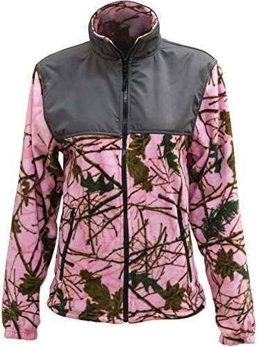 Trail Crest Womens Fleece Wind Jacket, Large, Pink Camo & Gray
