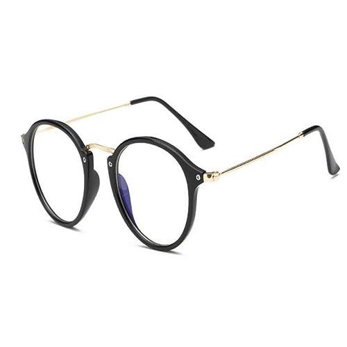 Hzjundasi Anti-radiación Gafas Hombres/Mujer Anti Fatiga Luz azul Lente clara Redondo Marco Computad...