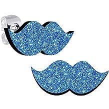 Body Candy Island Blue Glitter Mustache Stud Earrings