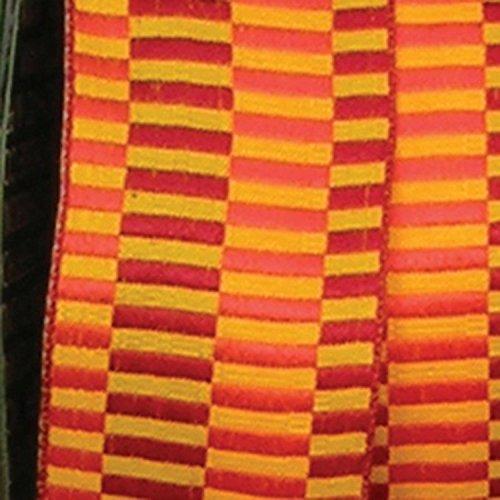 Orange Retro Blocks Print Woven Taffeta Wired Craft Ribbon 1.5