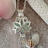 """Handmade from Hawaii,""""Yoga Jewelry"""" Lotus locket with a piece of natural sea glass necklace,sterling silver chain, Hawaiian Gift, FREE gift wrap, FREE gift message, FREE shipping"""