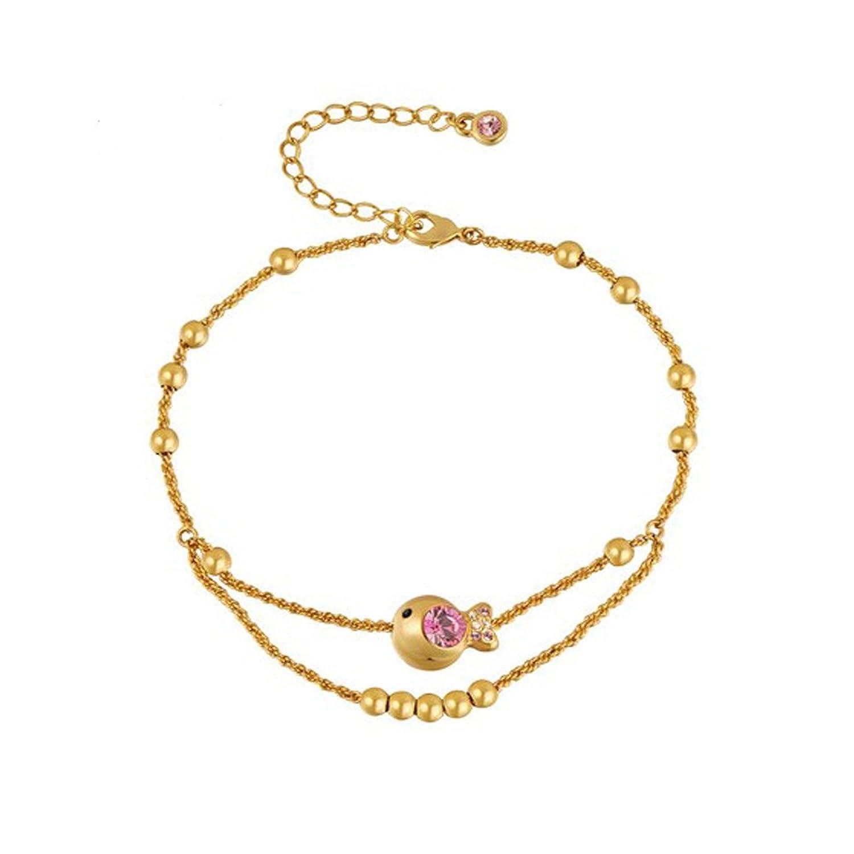 Helen de Lete Little Golden Ugly Fish Fashion 18K Goldplated Crystal Anklet