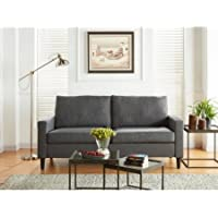 Mainstays Apartment Sofa, Upholstery Grade Woven Fabirc | 72.5L x 33.2W x 36.2H (Heather Grey)