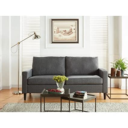 Amazon.com: Mainstays Apartment Sofa, Upholstery Grade Woven Fabirc ...