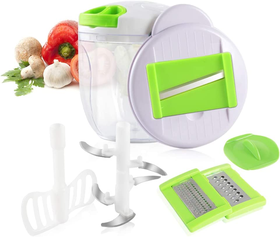 Manual Food Chopper- Adsvtech Portable Hand Pull String Cutter Food Processor Hand Held Chopper/Mincer/Mixer/Blender for Fruits,Vegetables,Meat, Nuts,Onions,Salad,Herbs,Garlic,Coleslaw