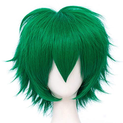 Max Beauty Unisex Anime Short Cosplay Short Wigs With Bangs Heat Resistant Hair for Party and Halloween for Gift + Free Cap (Jade F26)