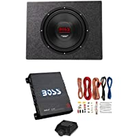Boss 12 1800W 4 Ohm Subwoofer w/Sealed Sub Box + Riot 1100W Monoblock Amplifier