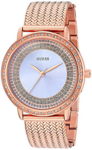 GUESS Women's U0836L1 Dressy Rose Gold-Tone Watch with Blue Dial , Crystal-Accented Bezel and Mesh G-Link (Gold Tone Blue Dial)