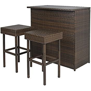 Best Choice Products 3PC Wicker Bar Set Patio Outdoor Backyard Table U0026 2  Stools Rattan Garden