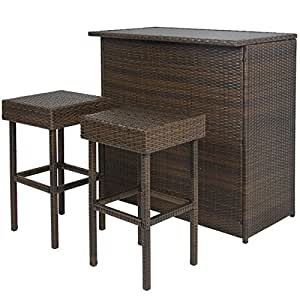 Best choice products 3pc wicker bar set patio outdoor for Patio furniture covers amazon ca