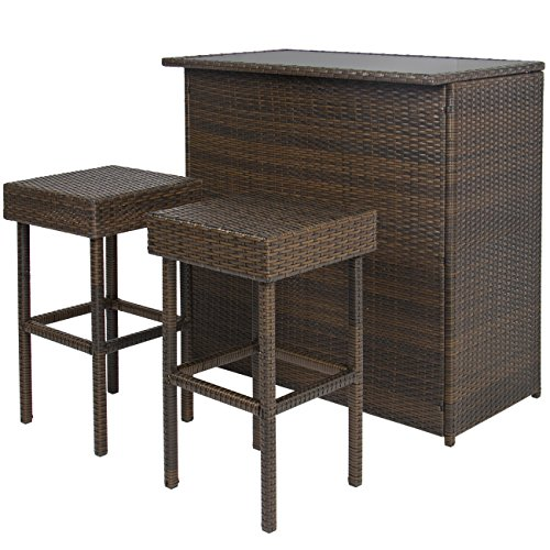 Outdoor Party Bar - Best Choice Products 3-Piece All-Weather Outdoor Wicker Bar Table Set for Patio, Backyard, Garden w/ 2 Stools, Glass Tabletop, Shelf