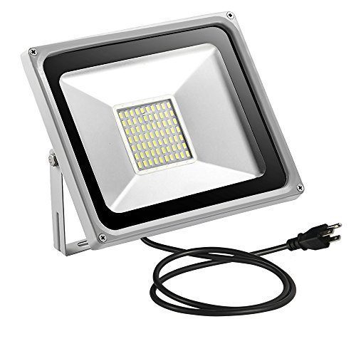Missbee 50w LED Flood Light 5500ml Outdoor Security Light with US 3-Plug, 2.95feet Cord, 6000-6500lm,Cold White, IP65 Waterproof, Instant On, Super Bright to Garage,Advertising[Added Plug]