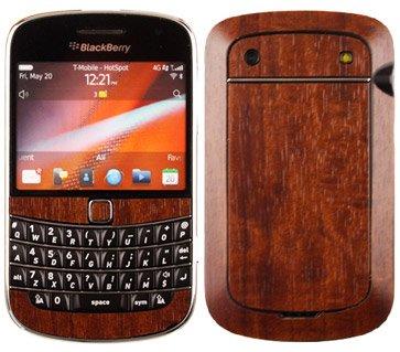 Skinomi TechSkin - BlackBerry Bold 9900 Screen Protector + Dark Wood Full Body Skin / Front & Back Premium HD Clear Film / Ultra Invisible and Anti Bubble Shield