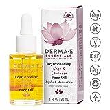 DERMA E Rejuvenating Sage & Lavender Face Oil with Jojoba and Marula Oils, 1 Fl oz