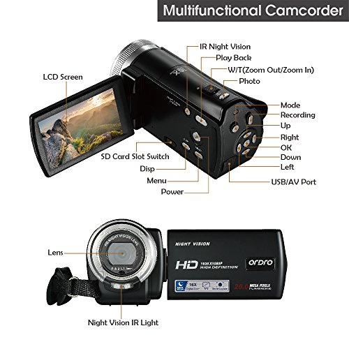 ORDRO HD Camcorder 1080P 30FPS 20MP Infrared Night Vision Digital Video Camera by ORDRO (Image #5)