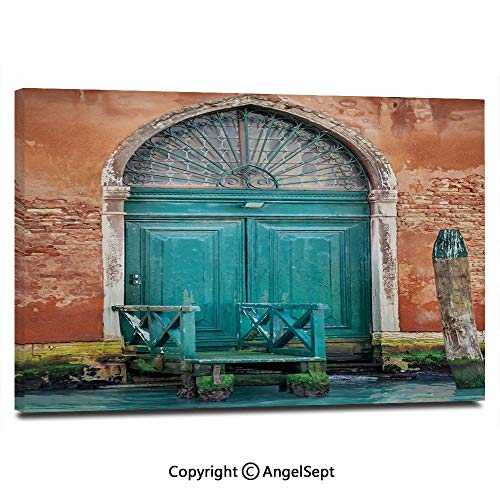 (Wall Art Decor High Definition Ancient Building with Antique Door Entrance City on Water Historical Urban Decorative Painting Home Decoration Living Room Bedroom Background,16