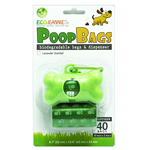 EcoJeannie 40-Count (2 Rolls) Dog Poop Bags + 1 Dispenser w/Stainless Steel Clip :Environment Friendly w/ d2w for Fast…