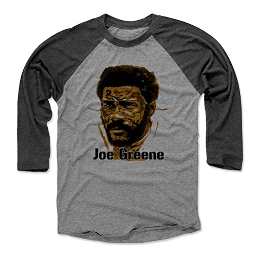500 LEVEL Mean Joe Greene Baseball Tee Shirt Medium Black/Heather Gray - Vintage Pittsburgh Football Raglan Shirt - Joe Greene Stamp K -