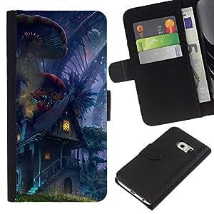 Samsung Galaxy S6 EDGE SM-G925 , la tarjeta de Crédito Slots PU Funda de cuero Monedero caso cubierta de piel ( Fairytale World Alien Universe Elf House Magic)