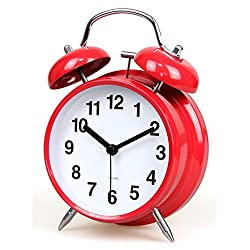 Non-Ticking 4-inch Retro Double Bell Bedside Alarm Clock with Backlight - Red