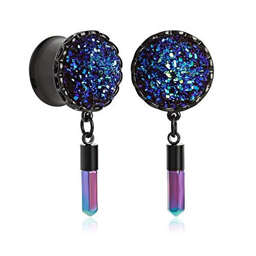 Gem Taper - KUBOOZ(1 Pair) Shine-gems Surface Stainless Steel Pendant Ear Plugs Tunnels Gauges Stretcher Piercings