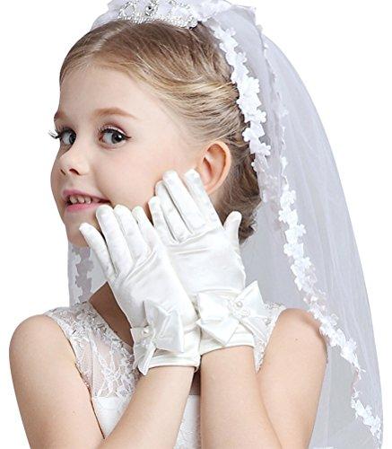Bienvenu Short Gloves for Flower Girls Princess Gloves for Wedding Formal Gloves,L