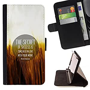 BullDog Case - FOR/HTC DESIRE 816 / - / secret success love work life quote motivation /- Monedero de cuero de la PU Llevar cubierta de la caja con el ID Credit Card Slots Flip funda de cuer