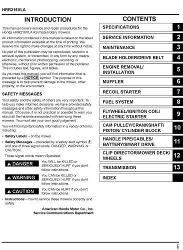 honda hrr216 service manual pdf