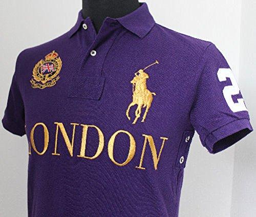 Ralph Lauren MENS POLO LONDON ENGLAND PURPLE BIG PONY CUSTOM FIT POLO   MEDIUM  Amazon.co.uk  Clothing a50f639a8045