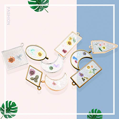 3 Boxes Natural Real Dried Flower Dry Flowers Nail Stickers Colorful with 30PCS Hollow Bezel Trays, Tweezers, for Epoxy Resin Casting Molds, Nail Art, DIY Making Craft, Nail Decals (Set 1)