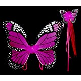 Mozlly 18 inch Fuchsia Monarch Butterfly Wings and Wand 2pc Set for Children Dress Up Accessory - Costume, Princess, Fairy - Item #110011