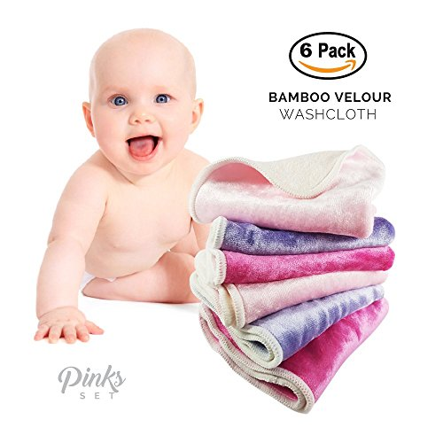 "Baby Washcloths by Baby Tooshy. Soft & Organic Cloth Wipes Made of Bamboo & Cotton Velour. Effective for Newborn/ Sensitive Skin. Suitable for Bath & Diaper Changes. 6 Per Set. XL Size 10x10"". Pinks"