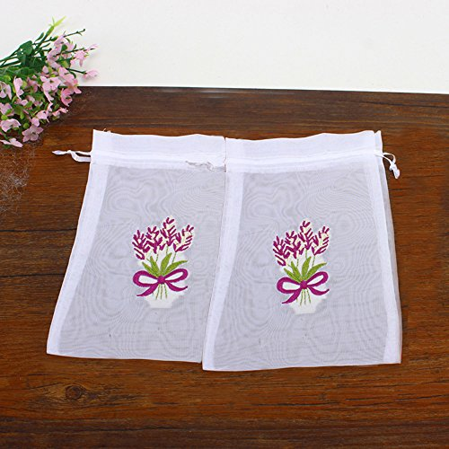 Bags Sachet Embroidered (TooGet Sachet Embroidered Lavender Pattern Empty Bags Cotton Bags Drawstring Bags 4.5x6.5 Inch,12-Pack)