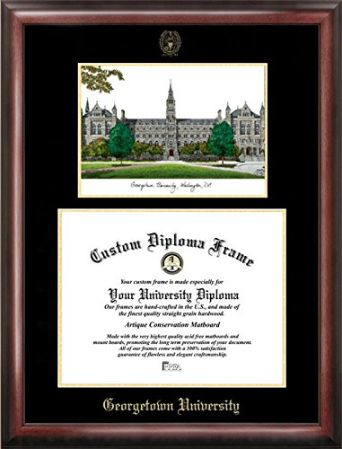 Campus Images DC996LGED Georgetown University Embossed Diploma Frame with Lithograph Print, 14